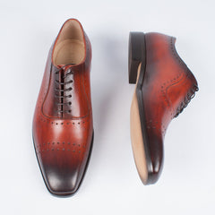 Mahogany Burnished Derby - Leonard Silver