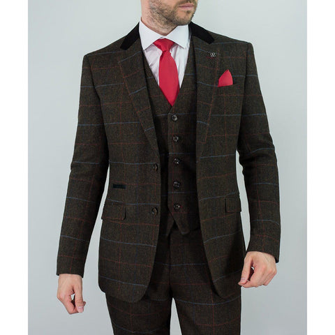 Multi Colour Check Tweed Suit - Leonard Silver