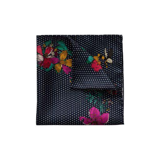 Navy Polka/Floral Pocket Square