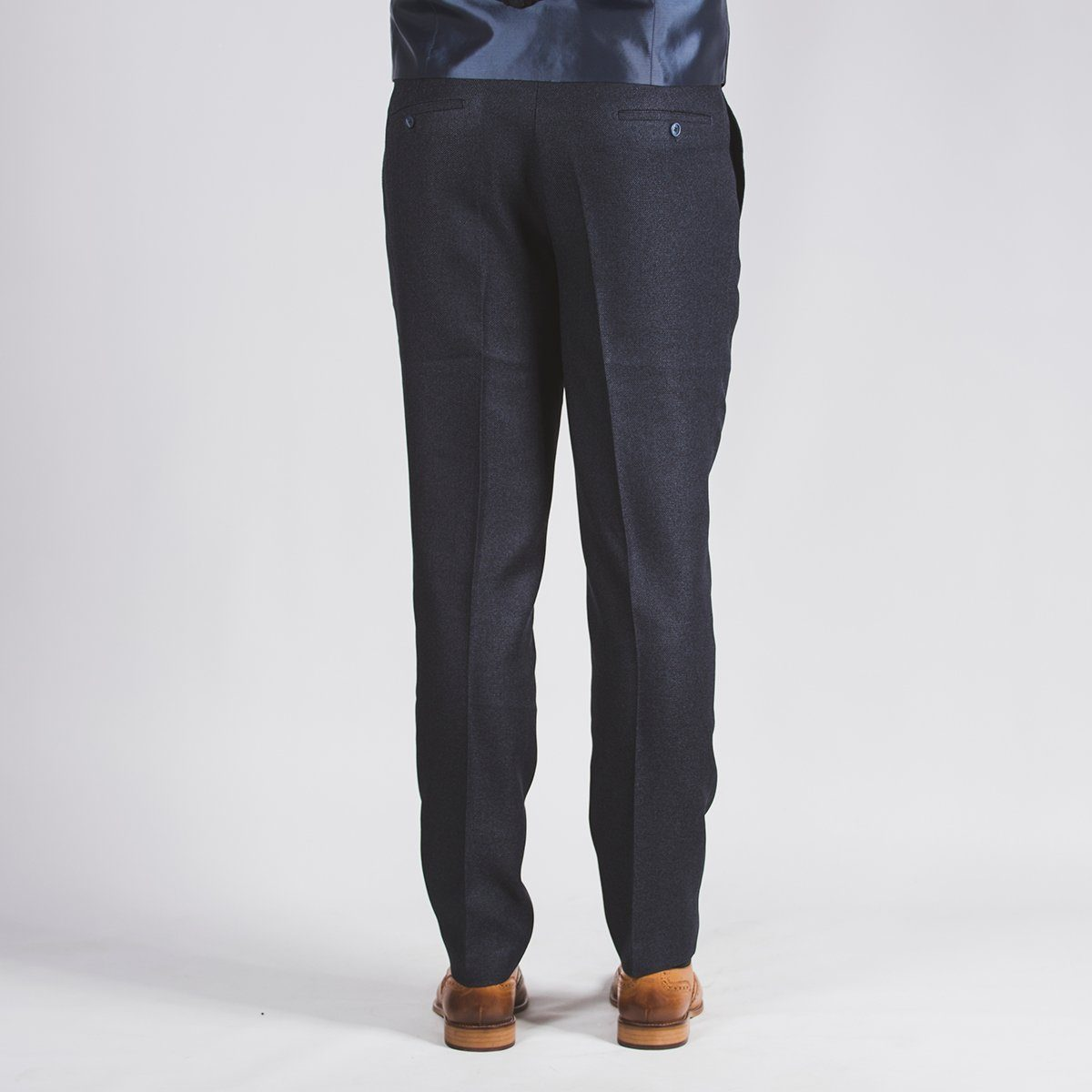 Navy Blue Textured Trouser
