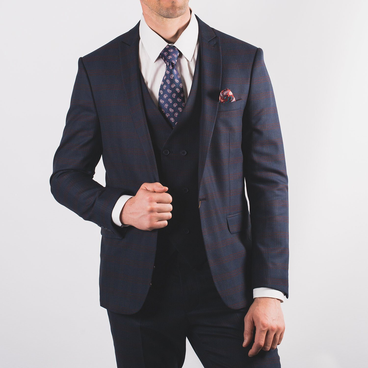 Navy Burgundy Check Suit - Leonard Silver