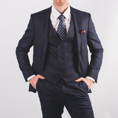 Navy Burgundy Check Suit