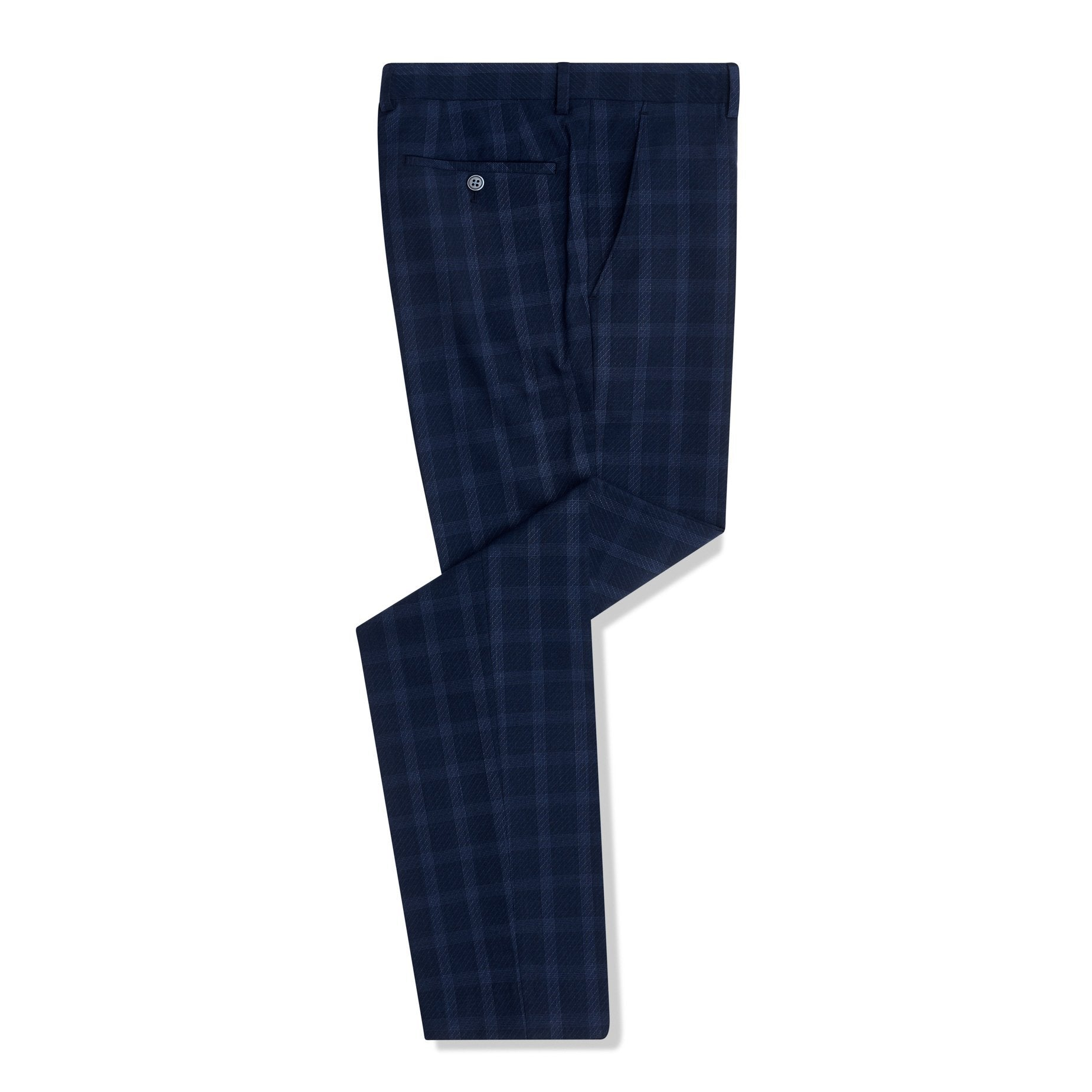 Navy Check Trousers - Leonard Silver