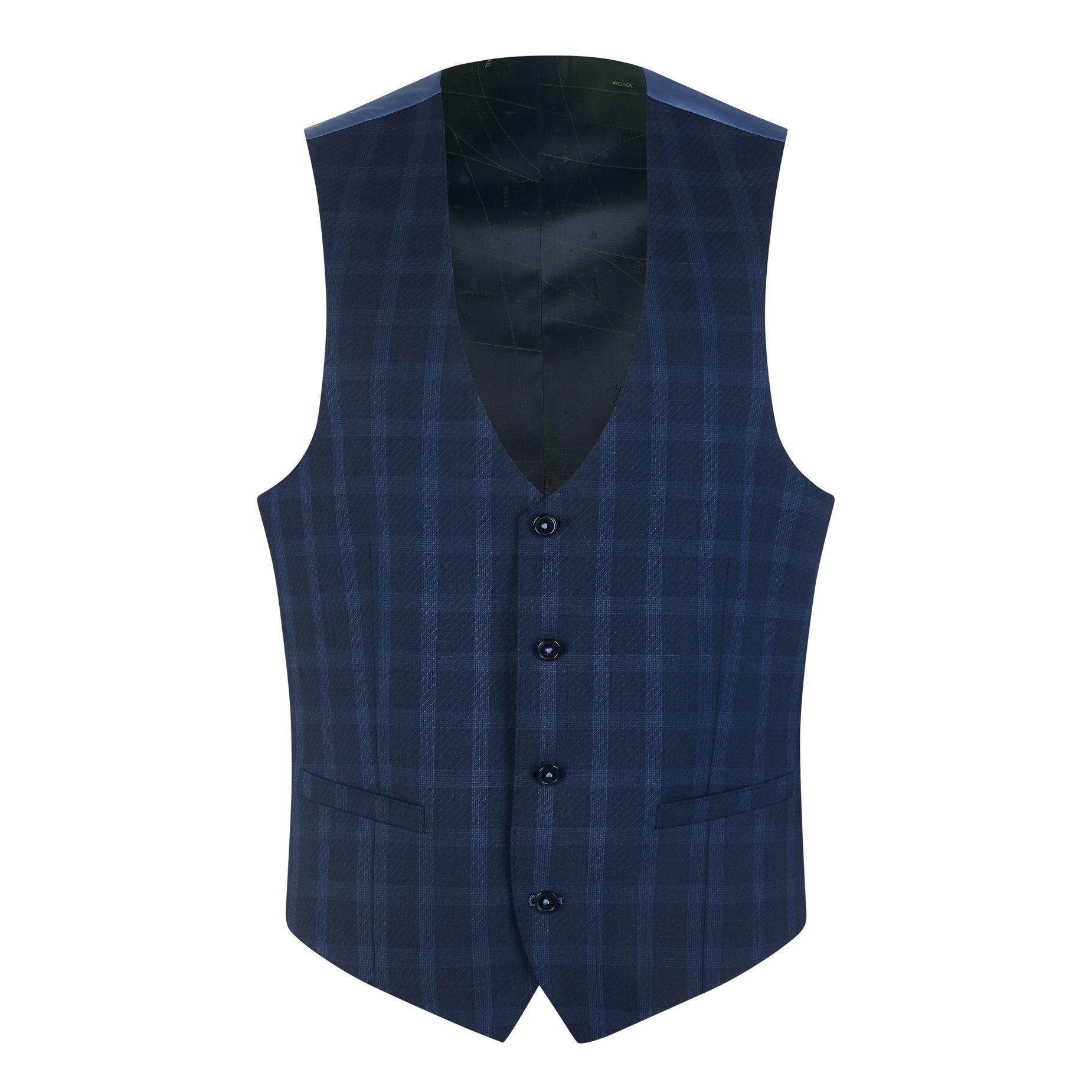 Navy Check Suit - Leonard Silver