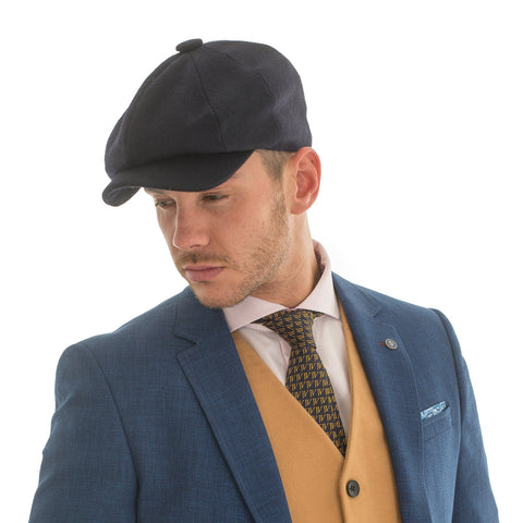 Melton Wool Hat Navy - Leonard Silver