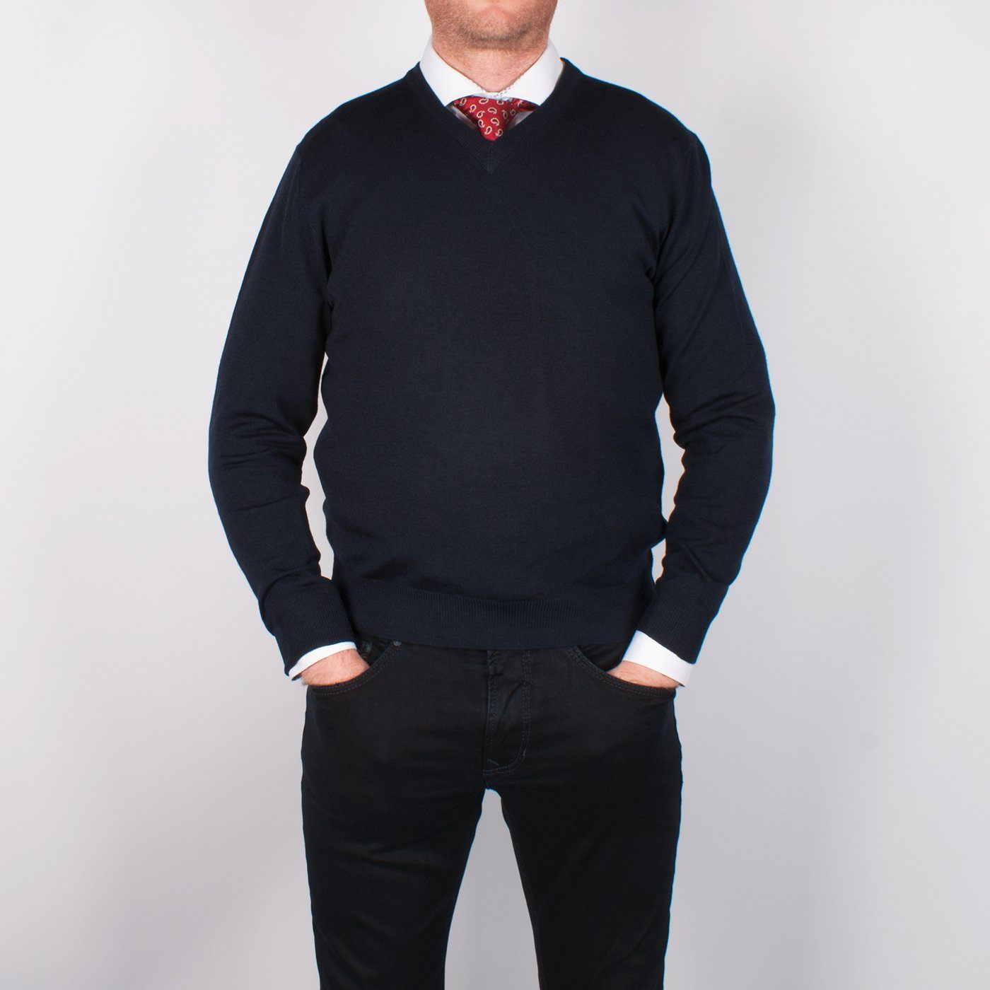 Navy Merino V-neck Sweater - Leonard Silver