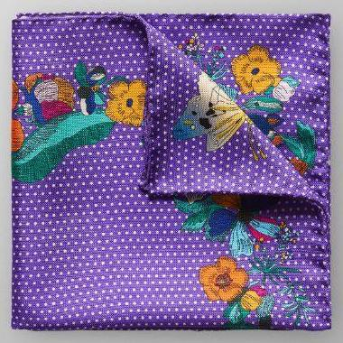 Purple Polka/Floral Pocket Square - Leonard Silver