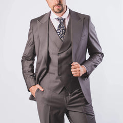 Vincent Peak Lapel Occasion Suit Grey