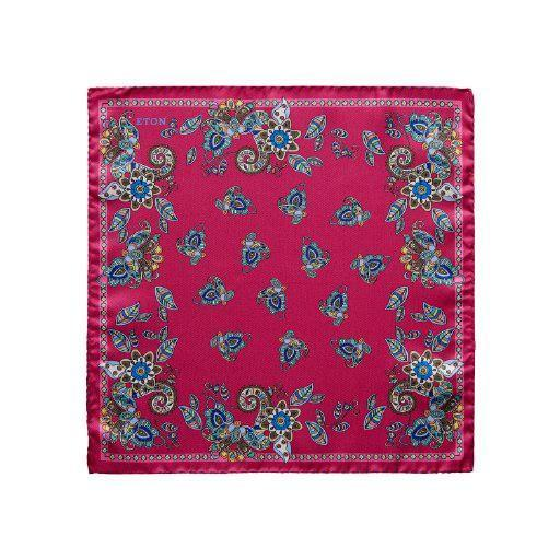 Floral Silk Pocket Square - Leonard Silver