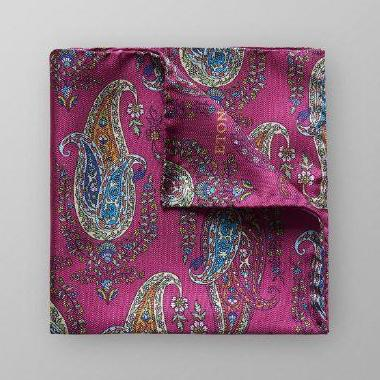 Pink-Paisley Pattern Pocket Square - Leonard Silver