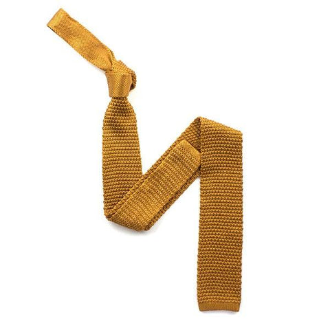 Plain Gold Knitted Silk Tie - Leonard Silver