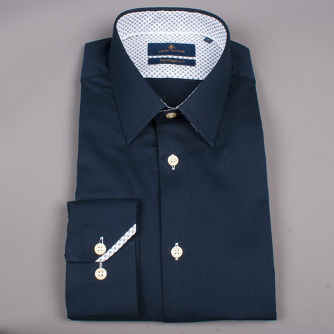 Pointy Collar Navy - Leonard Silver