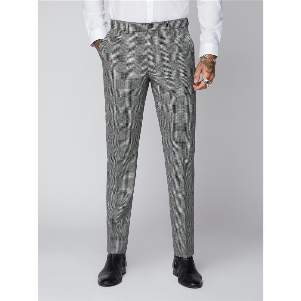 Prince of Wales Wool Blend Trousers