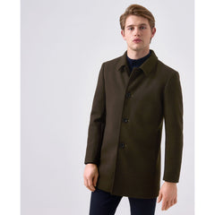 Tailored Wool Coat Olive Green
