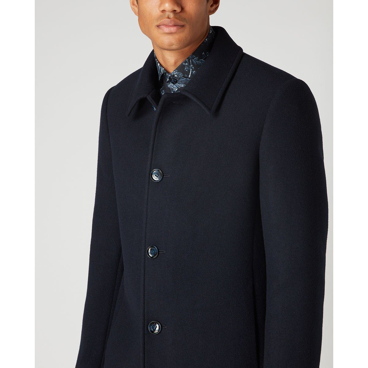 Rowan Tailored Wool Coat Navy