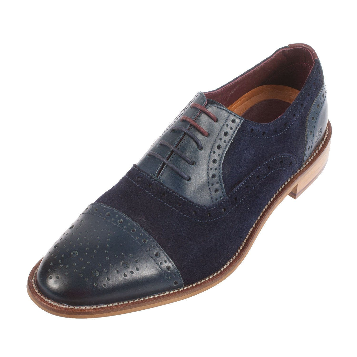 London Brogues Wilson Oxford Leather/Suede Brogue - Leonard Silver