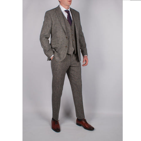 Brown 100% Wool Suit - Leonard Silver
