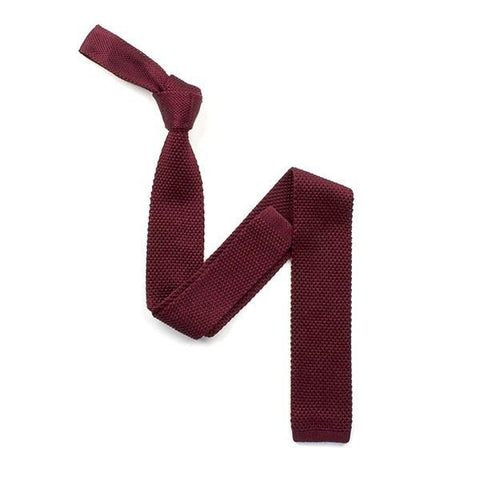 Plain Burgundy silk knitted tie - Leonard Silver
