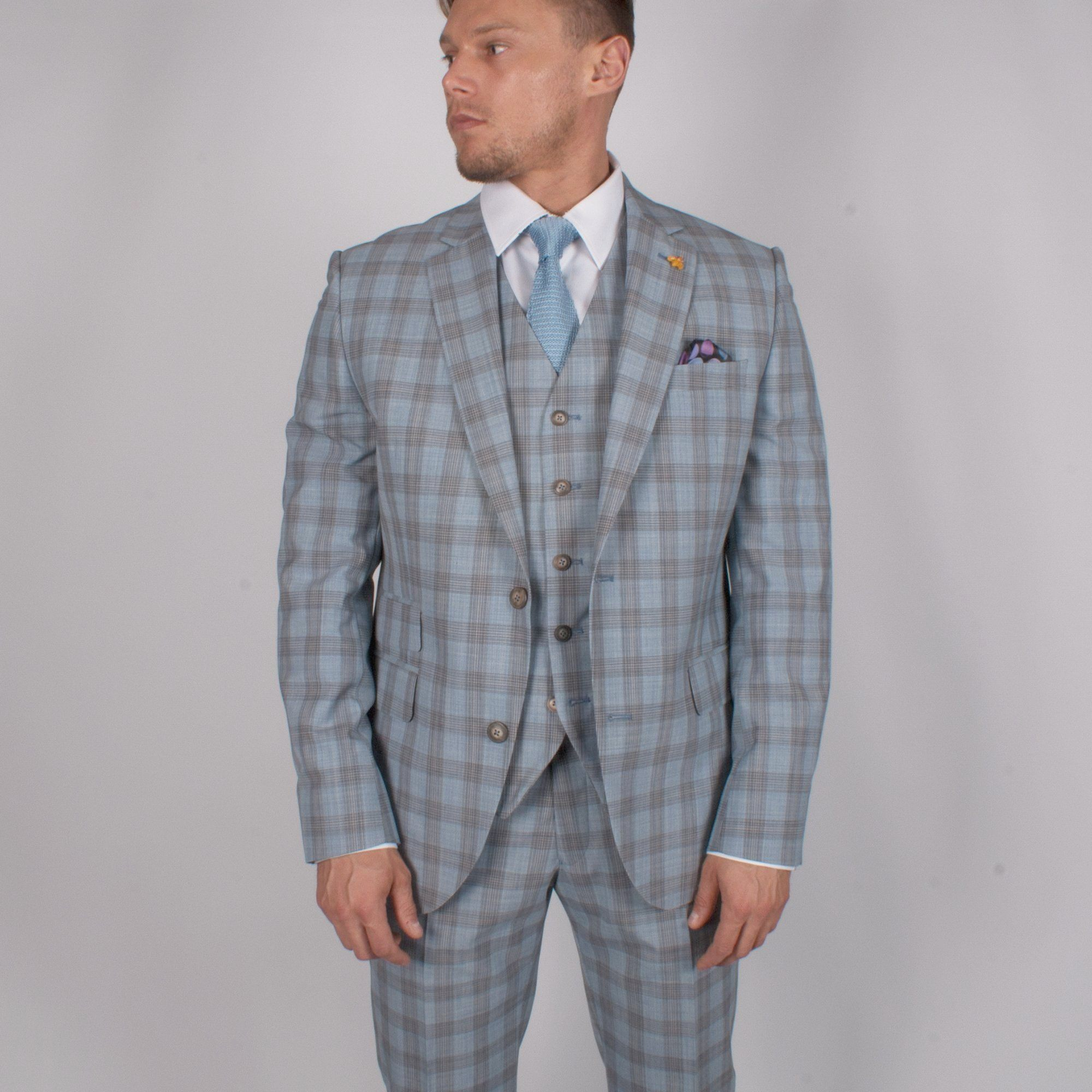 Sky Blue Check Suit - Leonard Silver