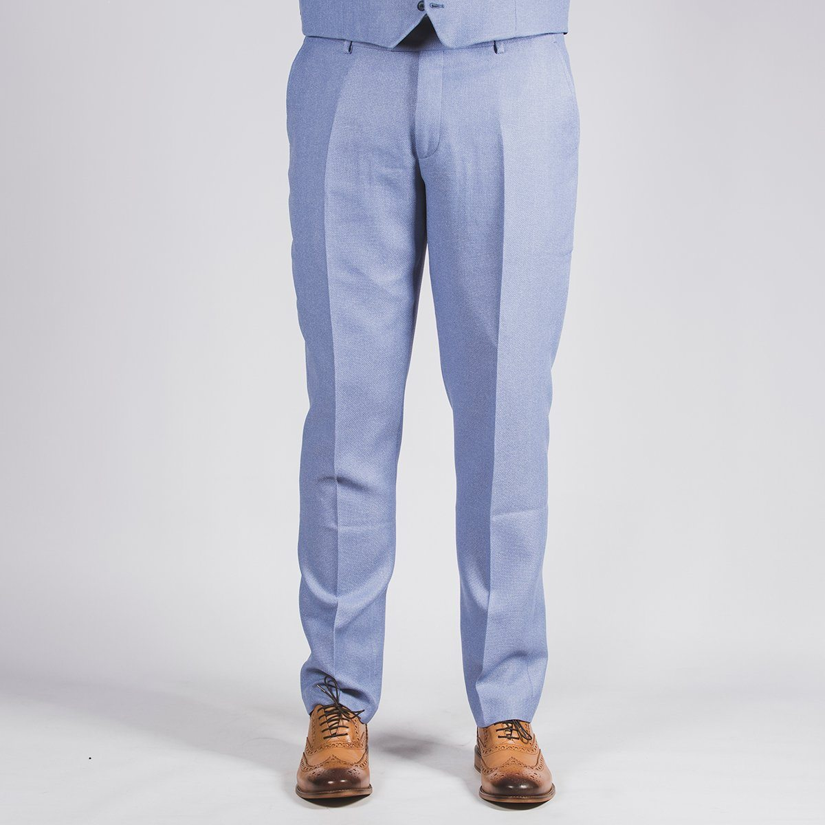 Sky Blue Textured Trouser