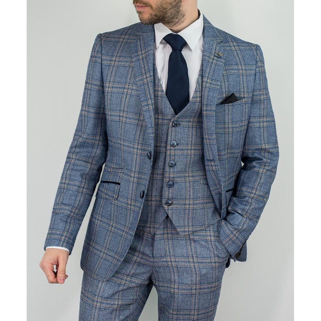 Blue Bold Check Suit - Leonard Silver