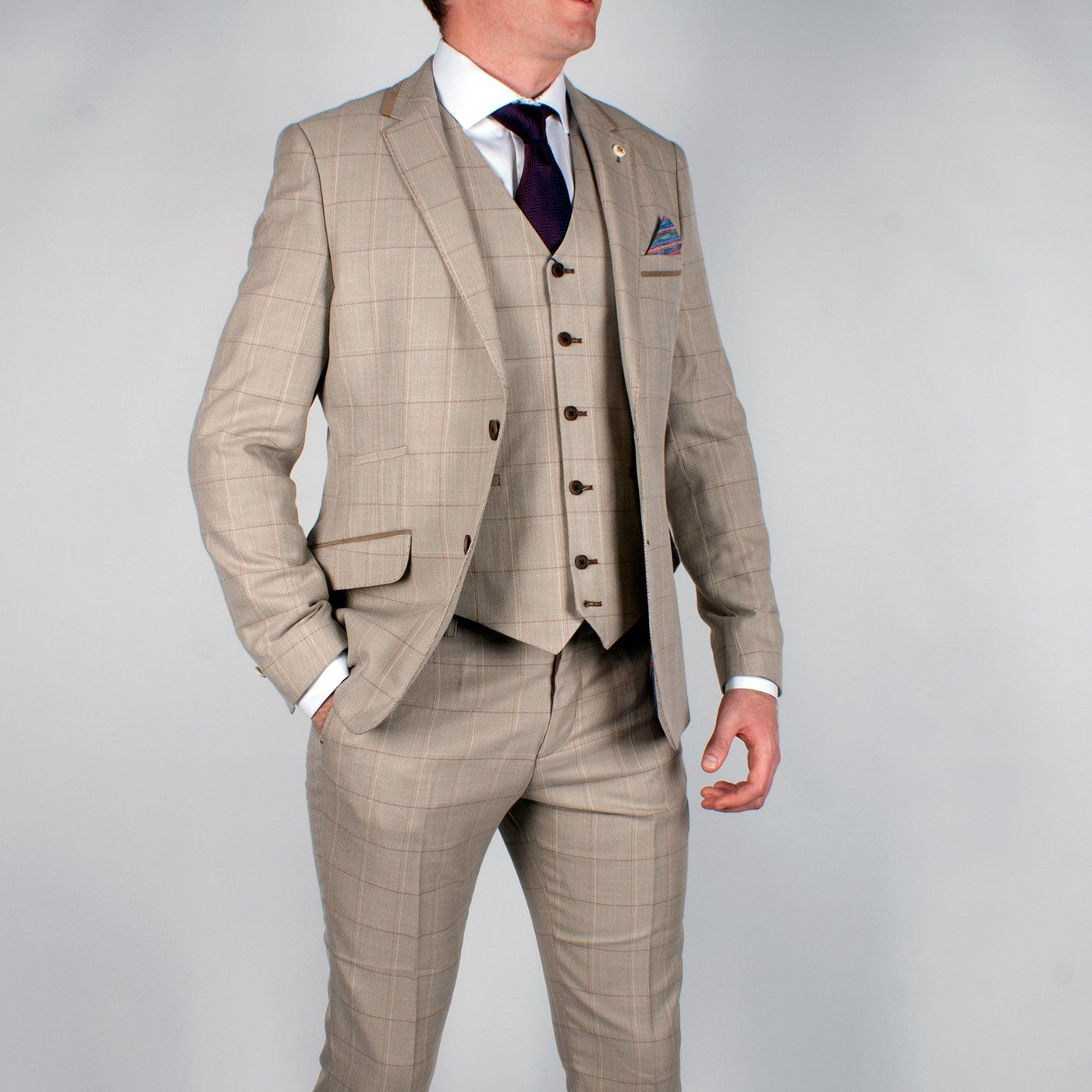 Tan Multi Check Suit Jacket