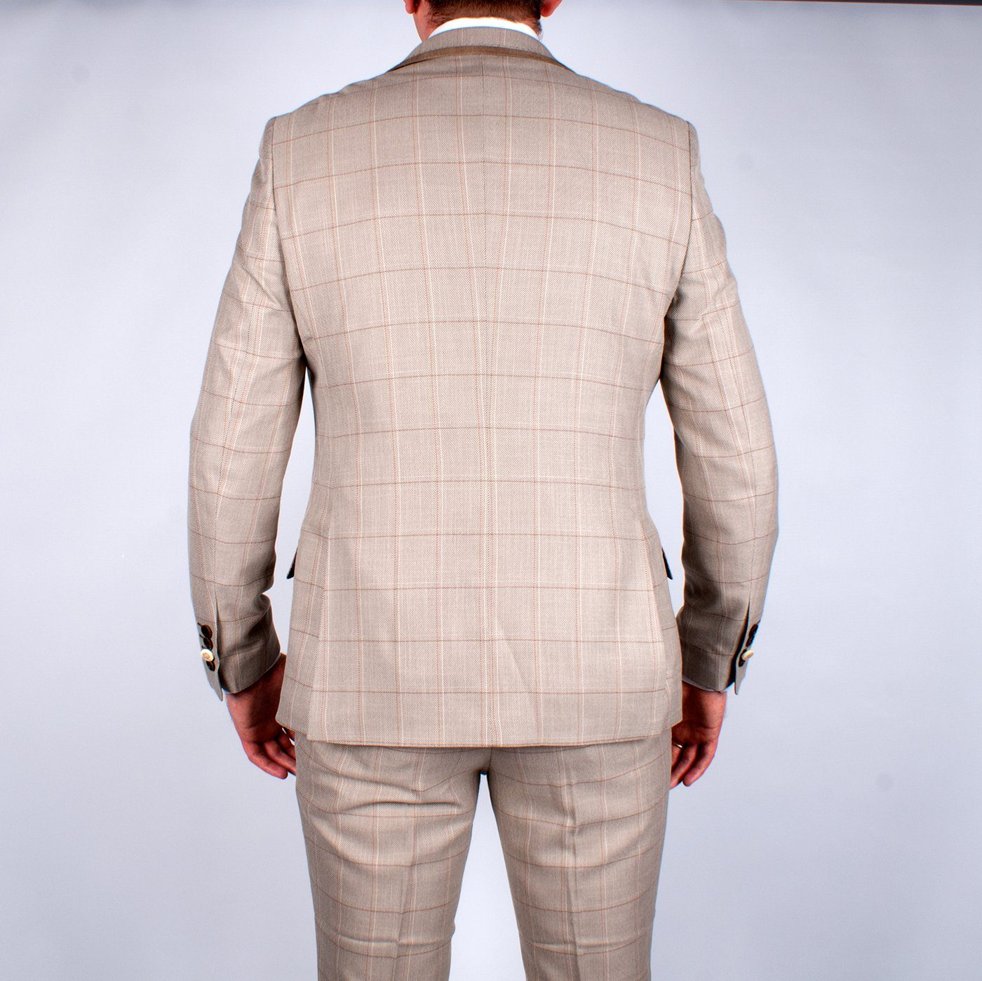 Tan Multi Check Suit - Leonard Silver