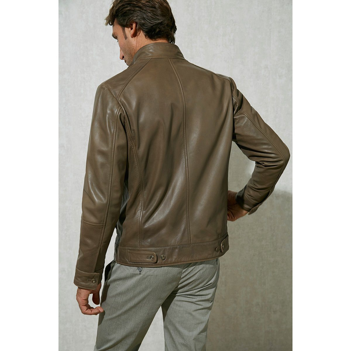Taupe Leather Jacket