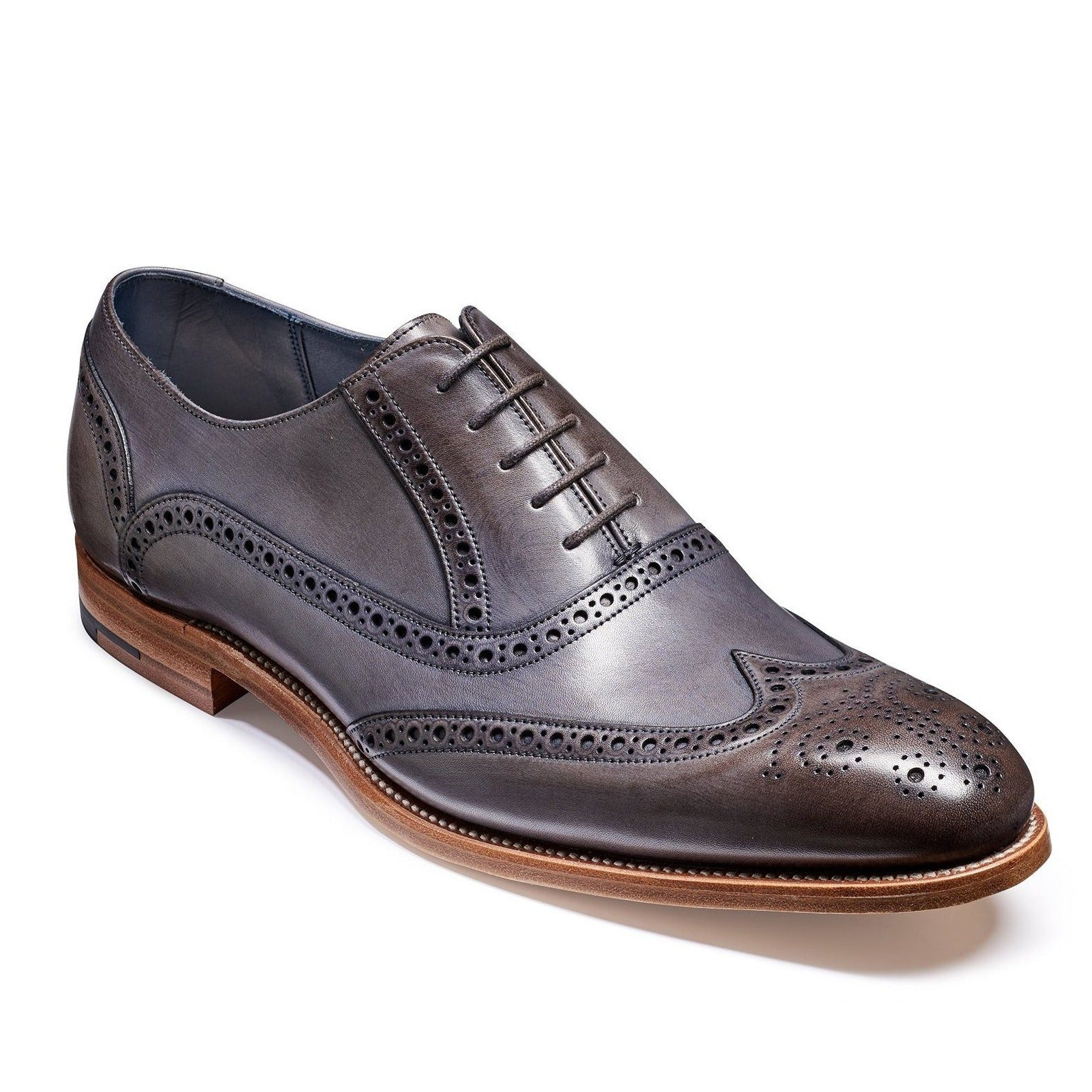 Valiant Grey Painted Brogues - Leonard Silver