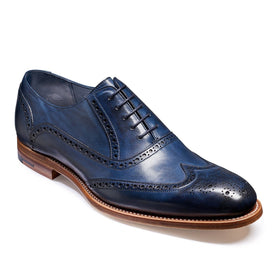 Valiant Navy Painted Brogues - Leonard Silver