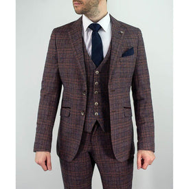 Wine Bold Check Suit
