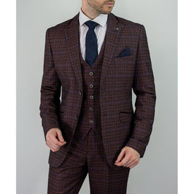 Wine Houndstooth Tweed Suit