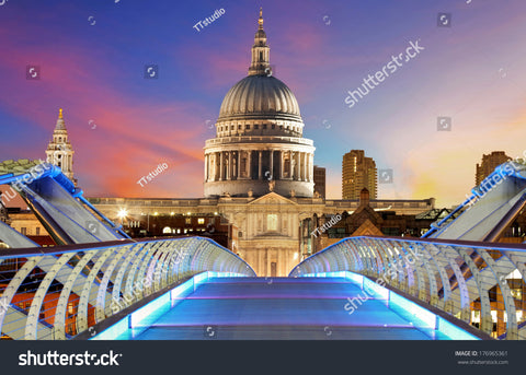 Millennium Bridge leads to Saint Paul's Cathedral in central London at night