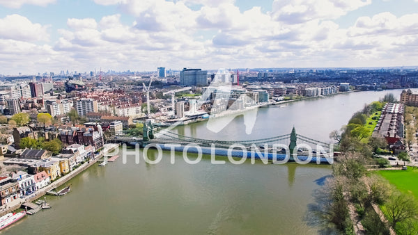 Aerial 4K Urban View Photo of Hammersmith Bridge in City Of London
