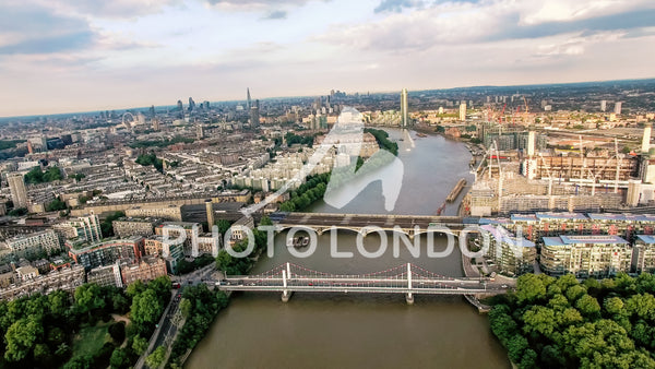 Aerial View Photo Above The Thames River and Bridges in London