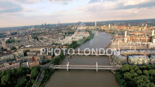 4K Aerial View Above The Thames River And Bridges In London