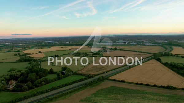 Aerial View of English Countryside Landscape Flying in Buckinghamshire
