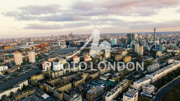 Aerial View Photo of London City Landmarks and Residential Urban Area