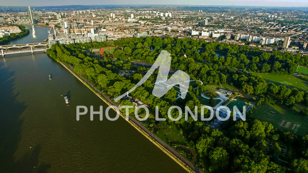 Aerial View Photo of London River and Battersea Park Chelsea Bridge