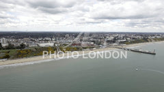 Aerial View Of Bournemouth City and Beach in England UK