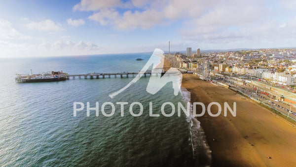 Aerial View Photo Of Brighton Pier, Sea And Beach UK