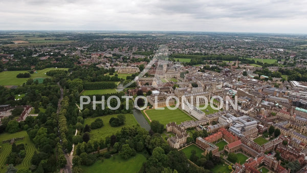 4K Aerial View Of Cambridge University And Colleges, United Kingdom