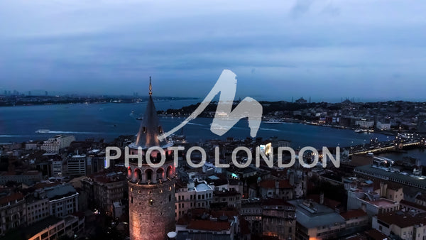 Galata Tower Aerial Urban View Photo of  Istanbul Skyline Cityscape
