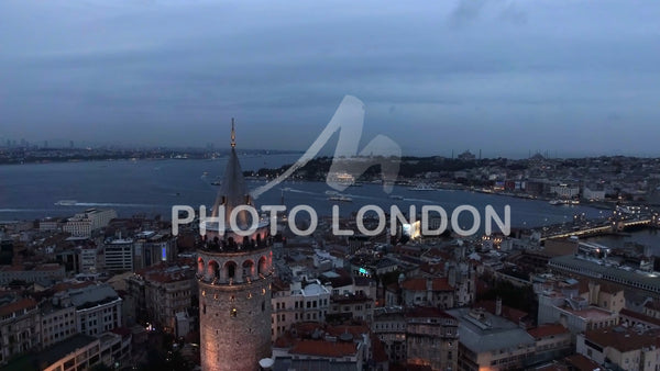 Galata Tower Aerial Urban View feat. Istanbul Skyline and Cityscape 4K