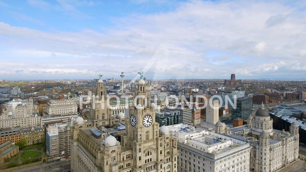 Rising Aerial View Of Liverpool And Iconic Royal Liver Building