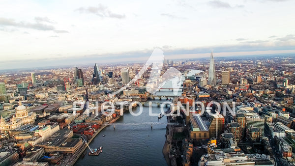 4K Aerial View Photo London Skyline Famous Skyscrapers and Landmarks