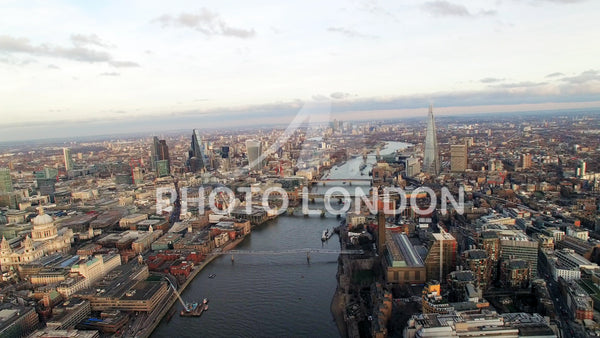 4K Aerial View of London Skyline Famous Skyscrapers and Landmarks