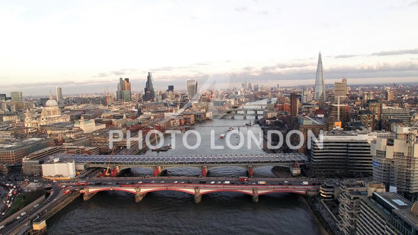 4K Aerial View of Financial District and Landmarks in Central London