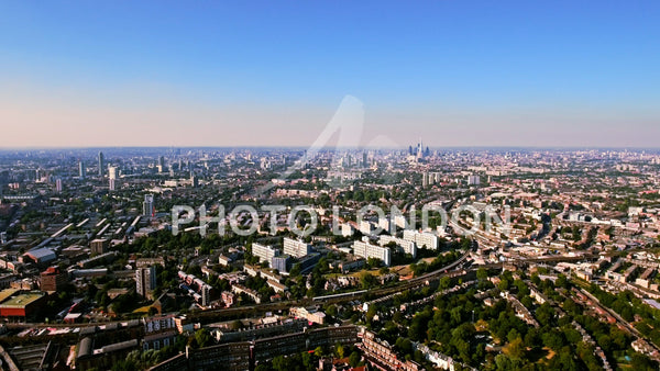 Aerial View of Residential Area in London City on a Sunny Day