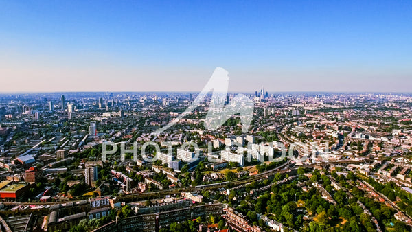 Aerial View Photo of Residential Area in London City on a Sunny Day